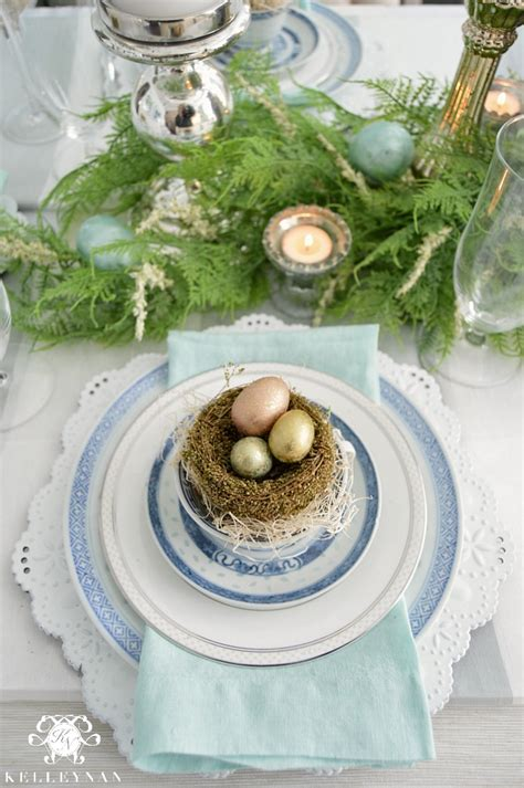 place setting ideas blue and white easter table kelley nan
