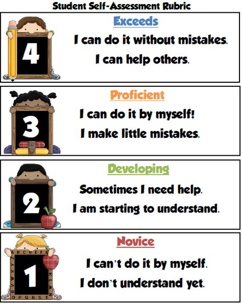 student self assessment s take out student self assessment rubric freebie