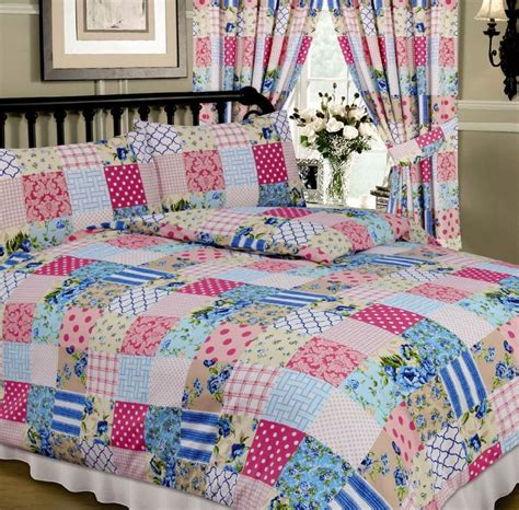 Patchwork Quilt Duvet Cover - blue pink colour multi patchwork design reversible