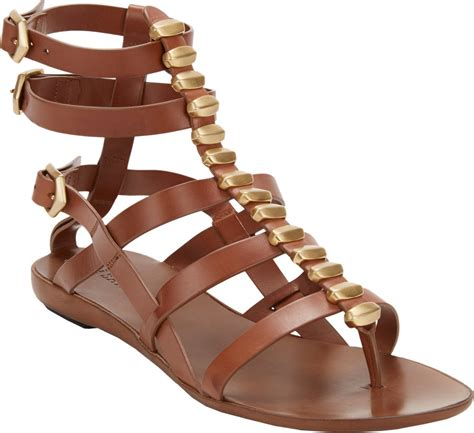 Vnc Studded Flat Sandals sartore studded flat gladiator sandals in brown lyst