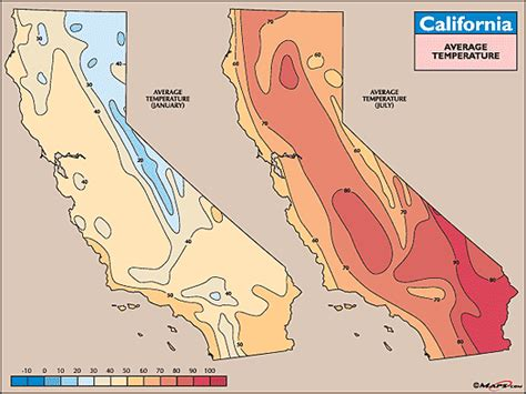california temperature map january california average temperature map for january july by