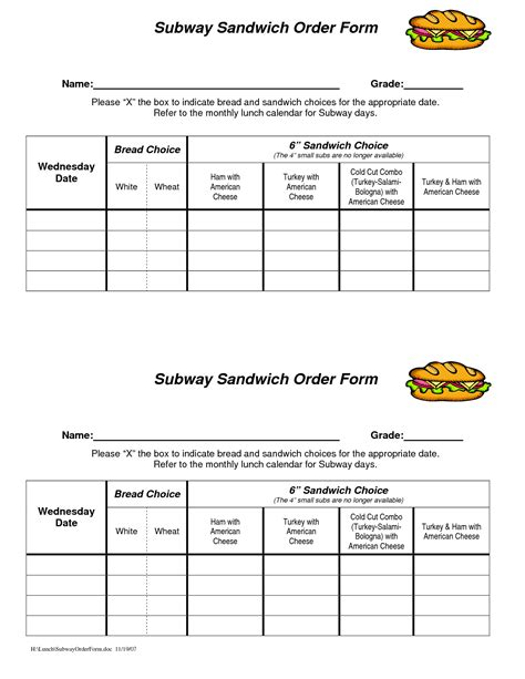 Free Printable Subway Template 6 best images of printable subway order sheet printable