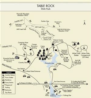 table rock state park map hiking trails at table rock state park