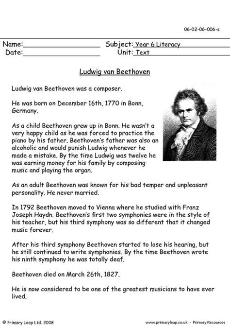 brief biography by beethoven beethoven worksheet