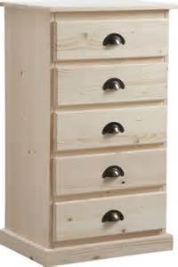 chiffonnier bois chiffonnier en bois brut 5 tiroirs