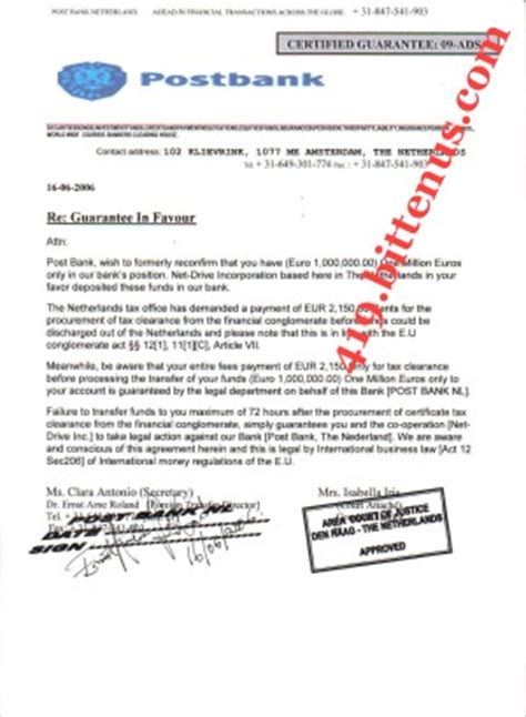 Letter Of Indirect Bank Guarantee Lottery N L