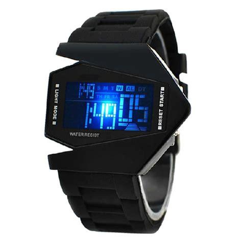 Jam Tangan Favorite Digital Hitam led jam tangan pria alarm tali pengikat karet hitam