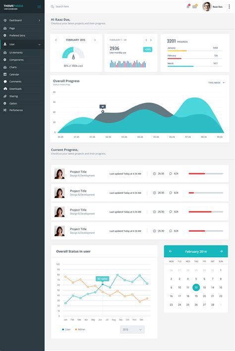 project management system dashboard ui free psd download
