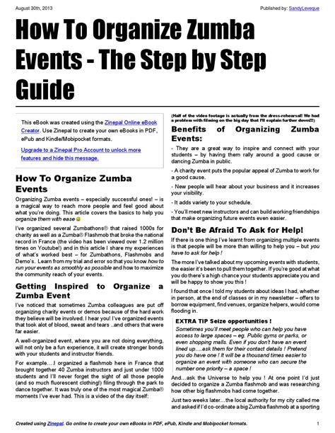 zumba steps pdf how to organize zumba events by sandy l 233 v 234 que issuu