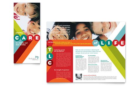 educational handout template pediatrician child care brochure template word publisher