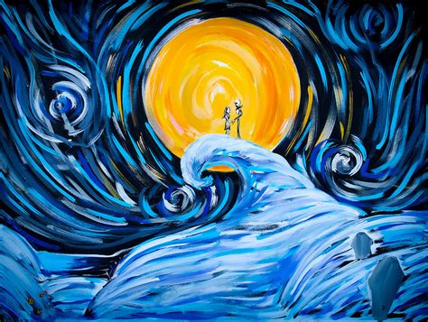 Jack Skellington Home Decor starry spiral hill night painting by marisela mungia