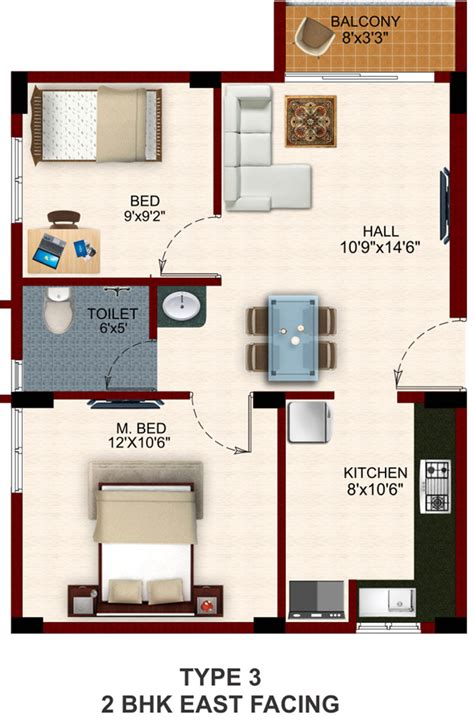 2 bhk home design layout floor plan