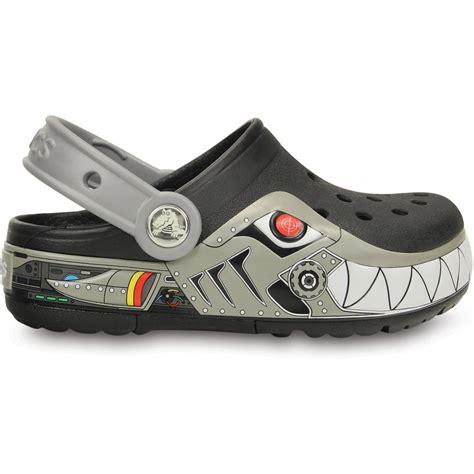 Light Up Crocs by Crocs Crocslights Robo Shark Clog Black Silver The