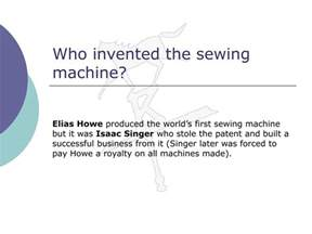 who invented the sewing machine ppt technology and innovation powerpoint presentation