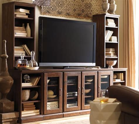 pottery barn media room printer s media suite with towers tuscan chestnut