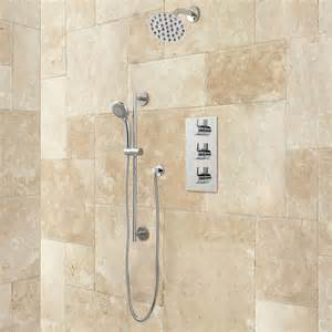 Bathroom Shower Systems Isola Thermostatic Shower System With Wall Shower Shower Bathroom