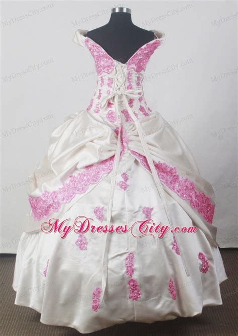little girl beauty pageant dresses off the shoulder pink appliques little girl beauty pageant
