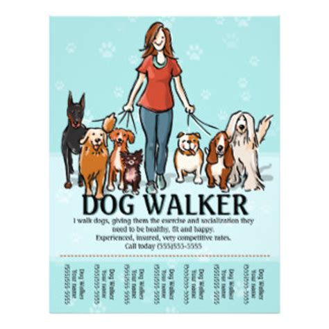 Dog Walking Dog Walker Tearsheet 21 5 Cm X 28 Cm Flyer Walking Business Flyer Template