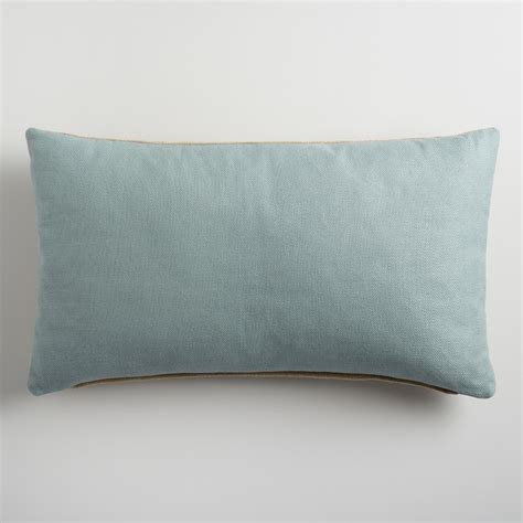 Blue Lumbar Pillow by Slate Blue Herringbone Linen Lumbar Pillow World Market