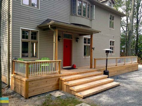 Cottage Deck Designs by 2 Level Cedar Deck At A Cottage M E Contracting