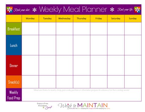 printable planner chart meal planning so simple even a gym bro can do it with