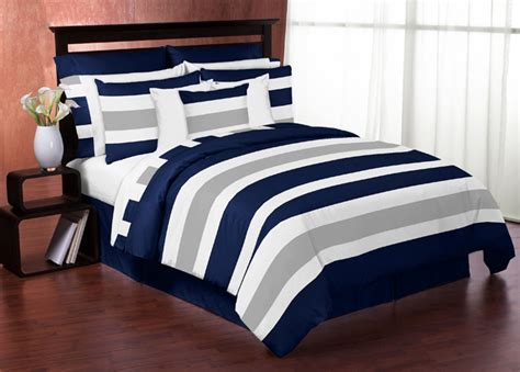 navy and gray bedding stripe navy and gray full queen bedding collection