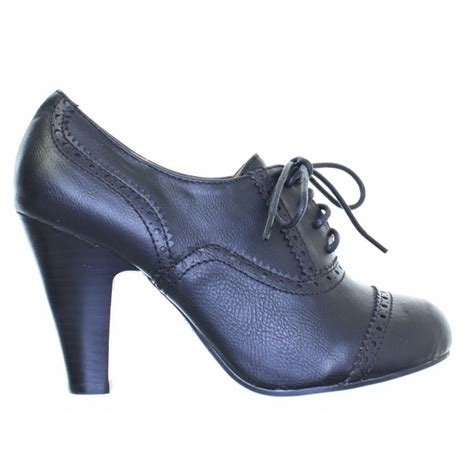 womens black heeled lace up brogue leather style