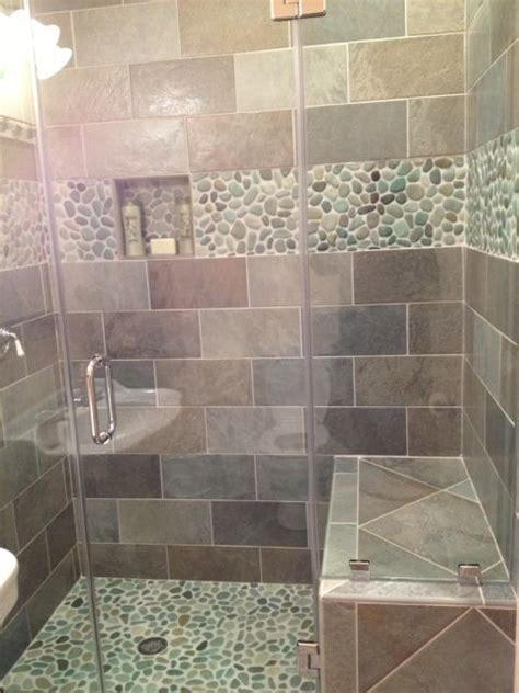 pebble tile floor bathroom master bathroom woodsy rustic home