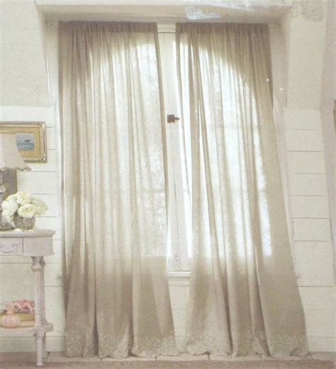 simply shabby chic embroidered linen gray window panels curtains