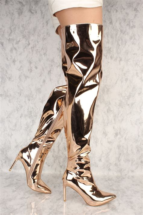 gold high heel boots gold chrome flared pointy toe thigh high heel boots