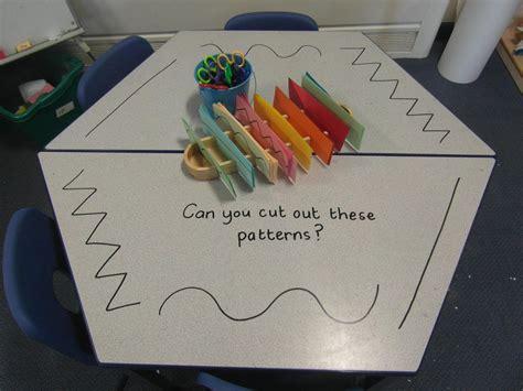pattern maker eyfs scissor skill provocation on the mark making table https