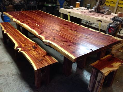 cedar table live edge table cedar dining set farm table