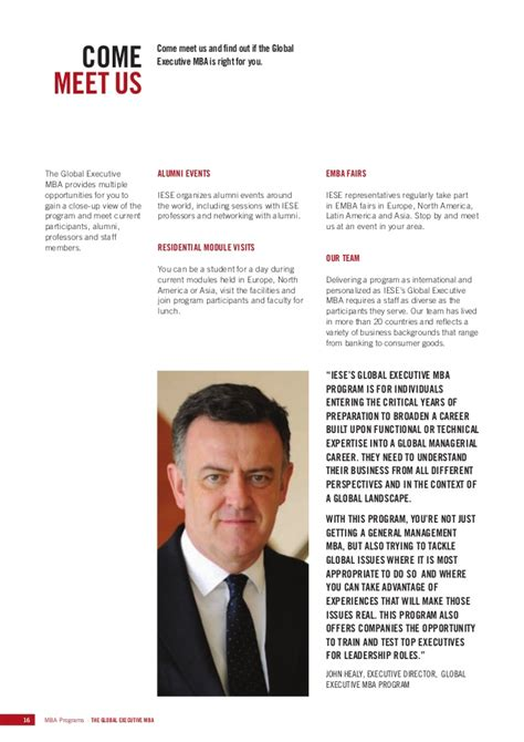 Iese Business School Global Executive Mba by Iese Global Executive Mba Brochure