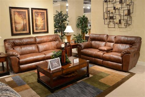 Catnapper Jackson Furniture by Catnapper Nolan Leather Wide Reclining Sofa Set Chestnut Cn 4041 Sofa Set Chestnut At