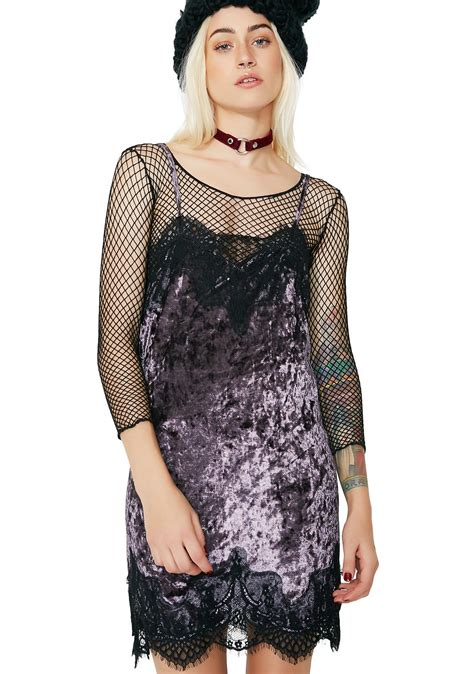 Lace Trim Velvet Slip Dress lace trim velvet purple slip dress dolls kill
