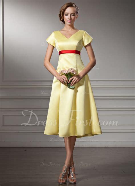 a linie v ausschnitt wadenlang spitze brautjungfernkleid mit scharpe band blumen p410 a linie princess linie v ausschnitt knielang satin