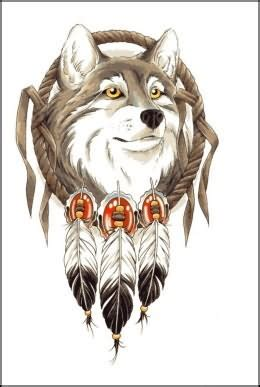 wolf head and feathers tattoo design