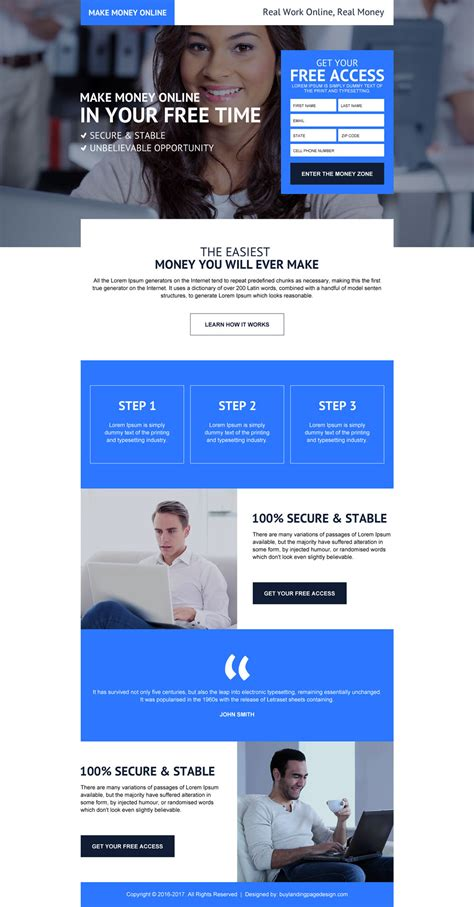 Make Money Online Leads - high converting makes money online landing page design 2016