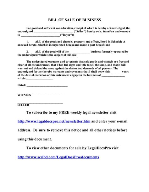 sle of business free sle bill of sale of business