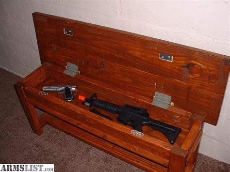 gun safe bench armslist for sale hidden compartment farmhouse style