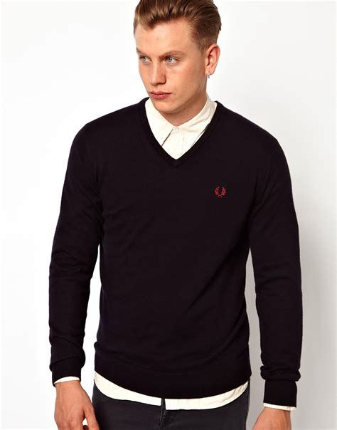 Sweater Hoodie Jumper Navy fred perry sweater with v neck in blue for lyst