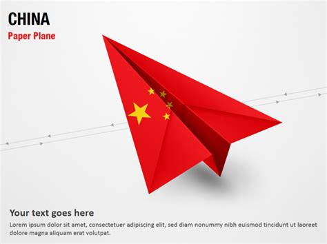 paper plane with china flag powerpoint map slides paper