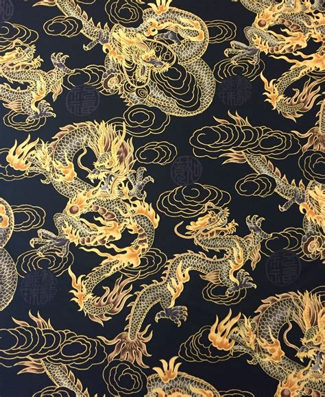 chinese pattern fabric uk asian exotic dragon japan black gold fire cloud japan