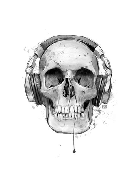 Skull Headphones skull with headphones poster badfishposters