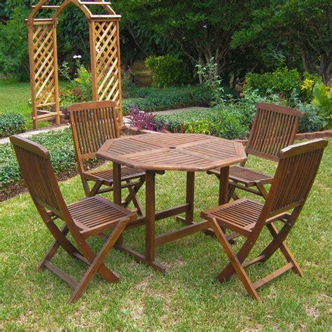 international caravan acacia  piece stowaway patio furniture set ebay