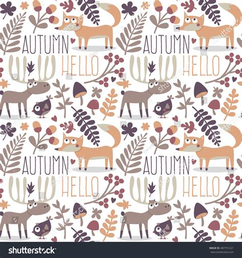 cute fox on leaf and acorn pattern mousepads zazzle seamless cute autumn pattern made fox stock vector