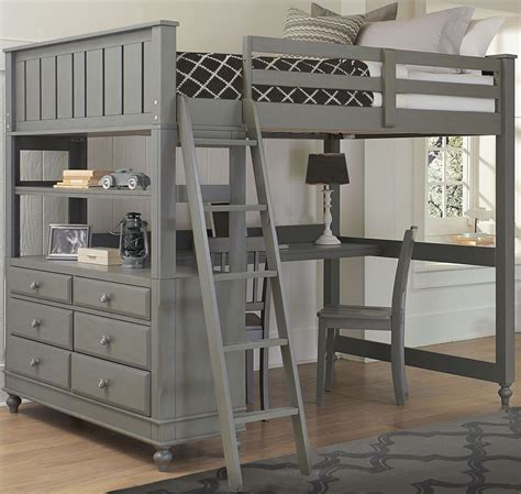 bunk bed with desk lake house stone full loft bed with desk from ne kids