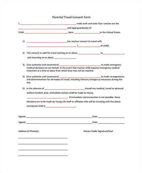 child travel consent form consent for minor to travel overseas form images