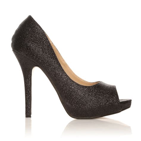 black glitter high heels black glitter stiletto high heel platform peep toe shoes