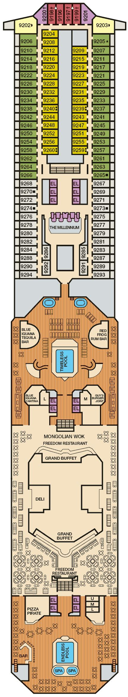 carnival freedom floor plan balcony cabin 9262 on carnival freedom category 8d